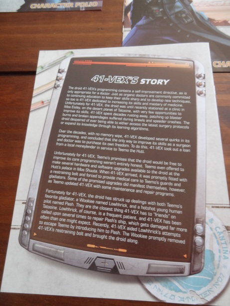 The back of each character folio has backstory.