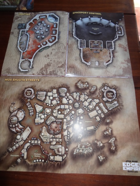 A cantina, city, and spaceport control map.