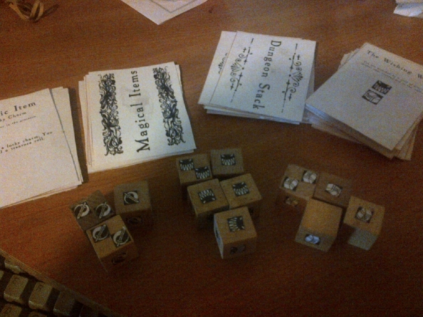 My homemade cards and dice.