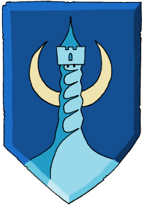 The crest of Shadowdale, the Twisted Tower of Ashaba.